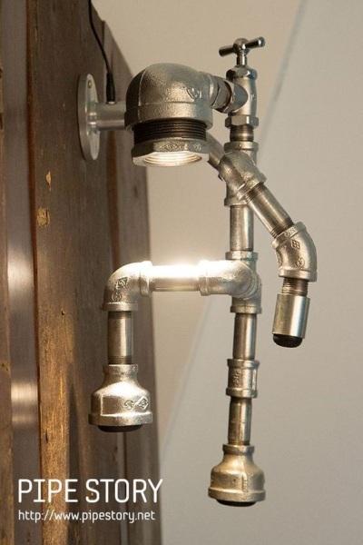 Lampu industrial dari pipa baja