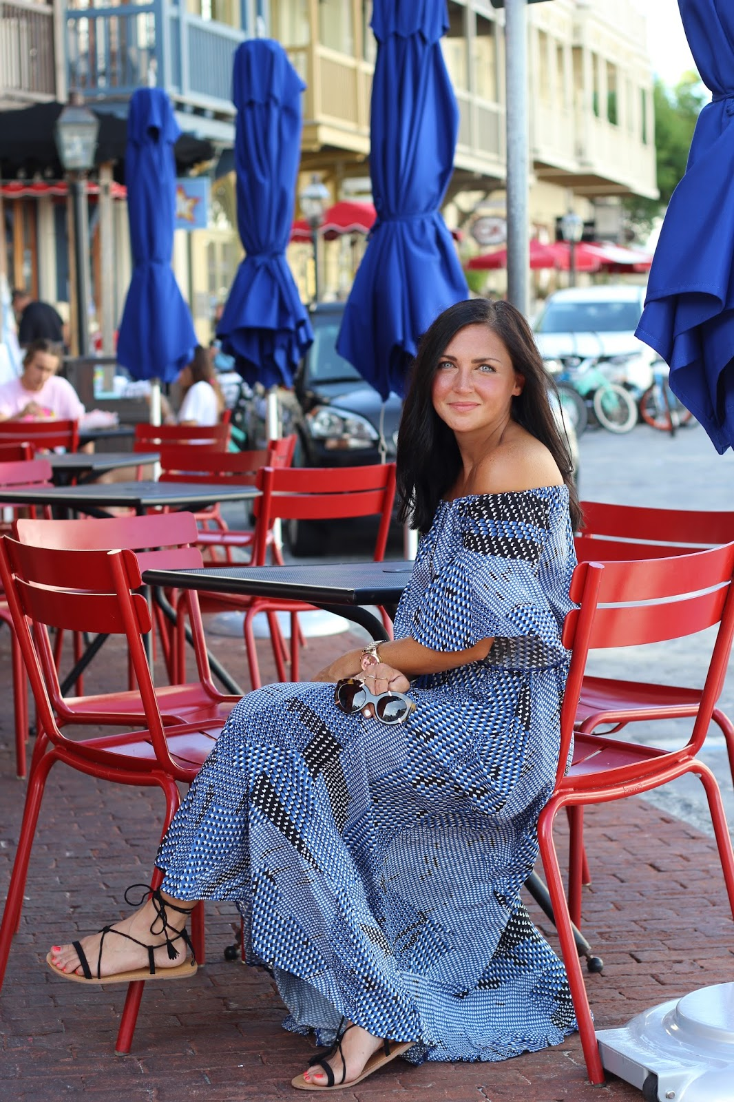 Lace up sandals, off the shoulder maxi, Karen Walker, Rosemary Beach