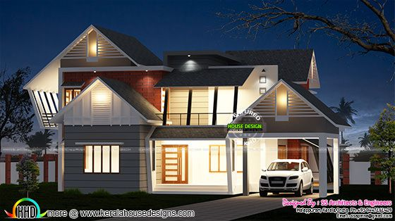 Modern sloping roof 3036 sq-ft home
