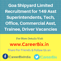Goa Shipyard Limited Recruitment for 149 Asst Superintendents, Tech, Office, Commercial Asst, Trainee, Driver Vacancies
