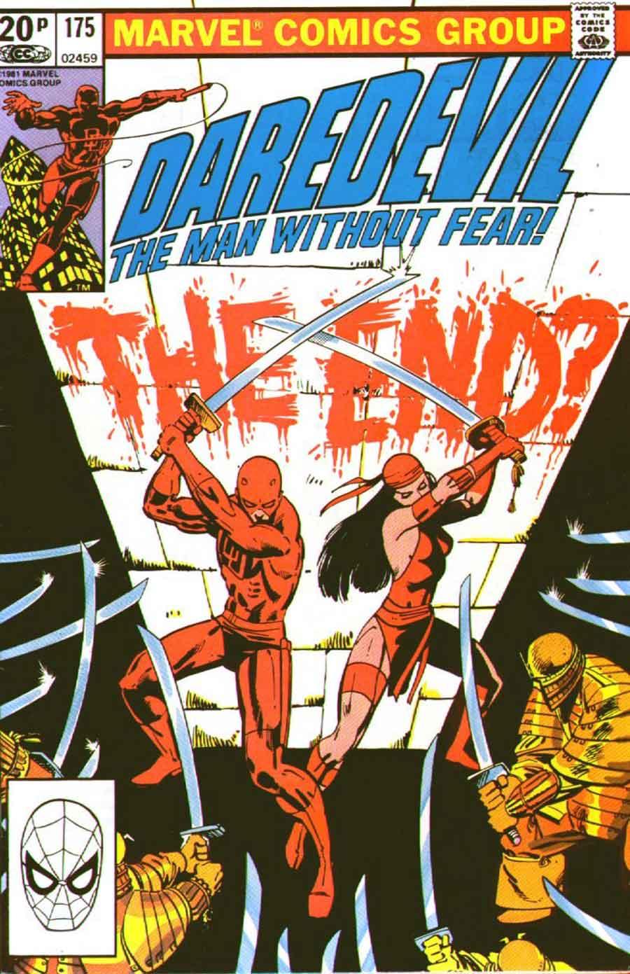 Daredevil v1 #175 elektra marvel comic book cover art by Frank Miller