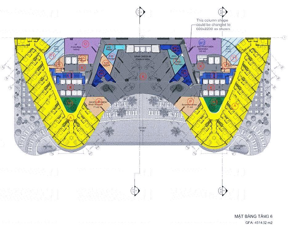 Mặt bằng điển hình tầng 6 dự án Beau Rivage Nha Trang