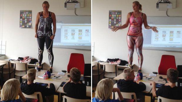 Maestra holandesa enseña anatomía de una forma muy original