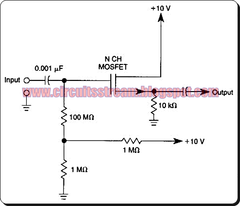 Simple Unity Gain Non-inverting Amplifier Circuit Diagram