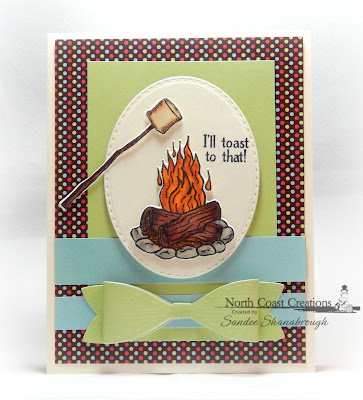 North Coast Creations Stamps and Dies: S'more Love, Paper Collection: Sweet Shoppe, ODBD Custom Dies:Stitched Ovals, Medium Bow