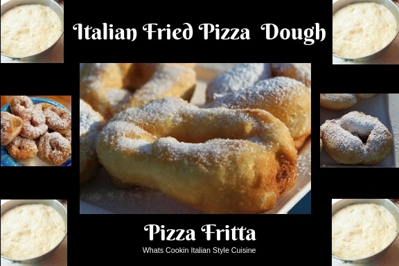 this is a fried pizza dough and Italian style fried dough called pizza fritta or zeppole  found at Catholic feasts and festivals.