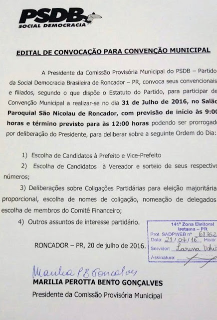 Roncador: PSDB, PSL, PTN, PP, PCdoB, PV, PTdoB, PDT, e DEM realizam convenções municipais no dia 31 de julho