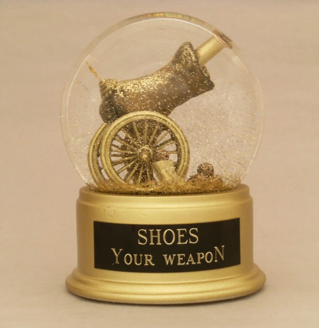 Shoes Your Weapon snow globe