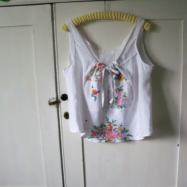 embroidered vintage linens into cute camisole top by karen vallerius