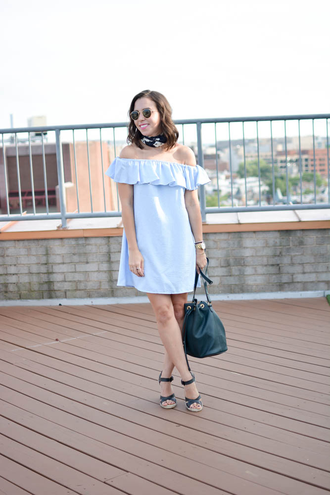 How To Style an Off the Shoulder dress.| A.Viza Style | banana republic silk scarf - off the shoulder ruffle dress.  - joie lena wedges.