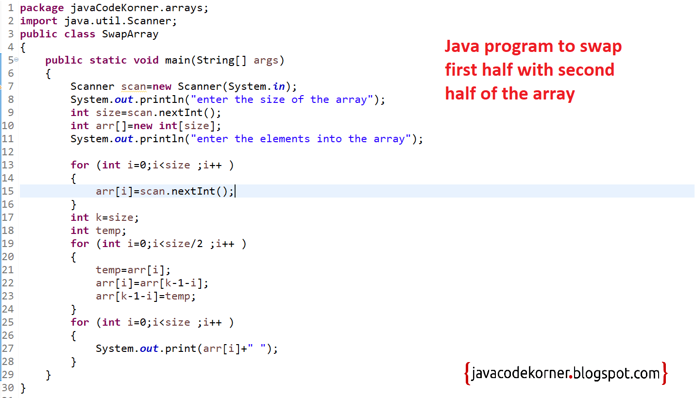 Java Program To Swap First Half With Second Half Of Same