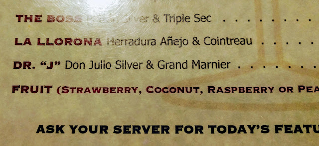 Dr. J on the margarita menu at Fiesta del Mar Too
