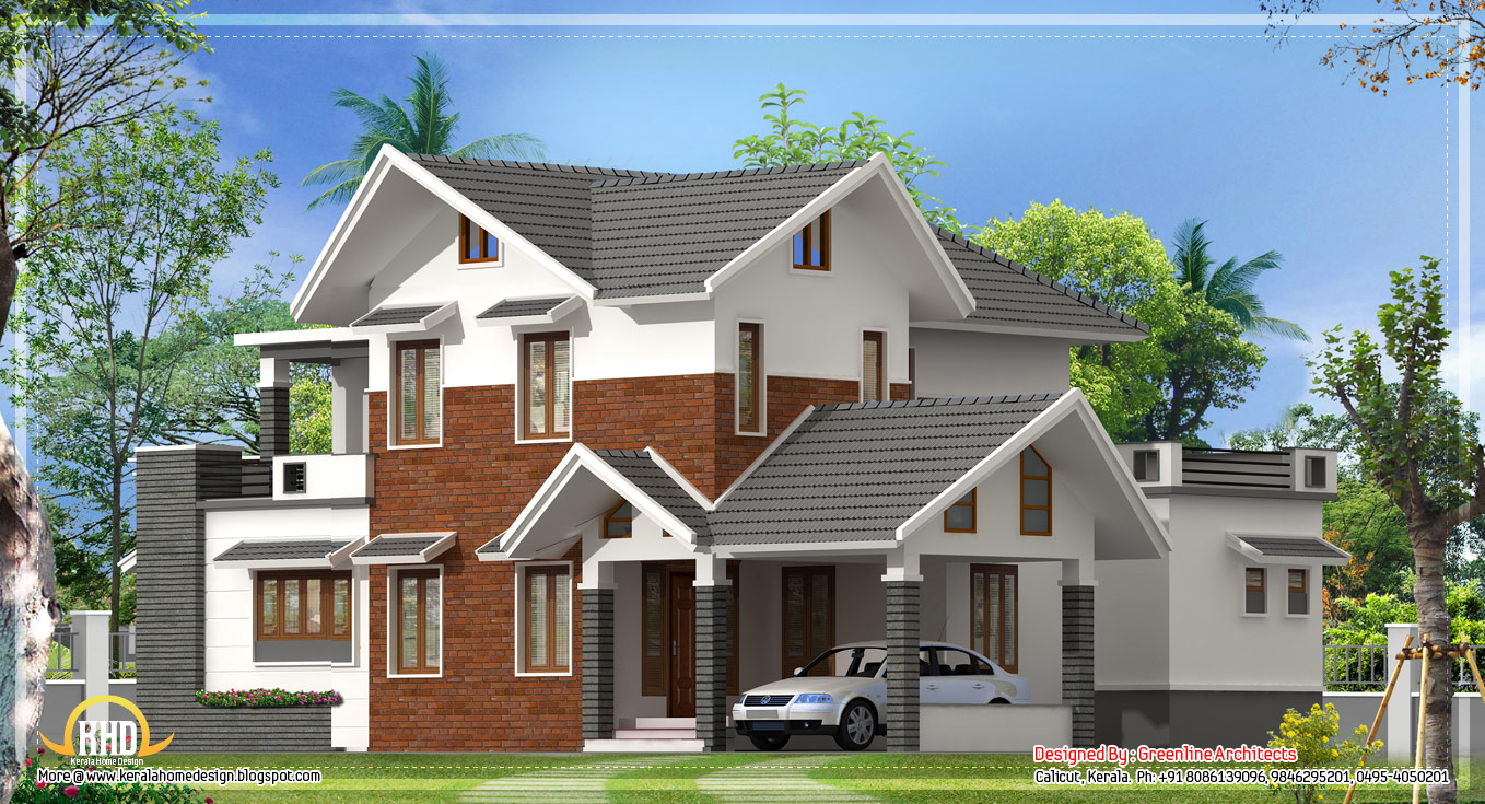 Roof Floor Elevation : Sq ft modern sloping roof house kerala home