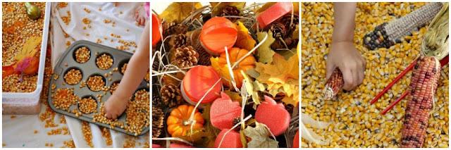 Fall sensory boxes for kids from And Next Comes L