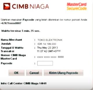 Gambar contoh permintaan kode 3d secure; transaksi online debit cimb niaga