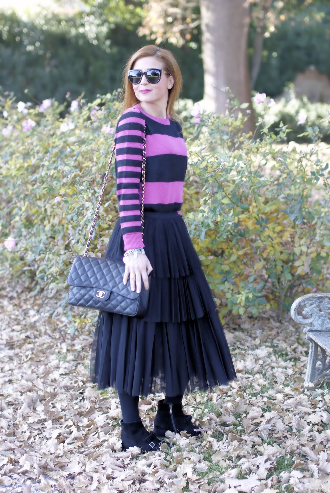 How to wear a black ruffle tulle skirt on Fashion and Cookies fashion blog, fashion blogger style