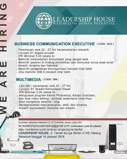 Tersedia 2 Posisi Lowongan Kerja di Leadership House Malang