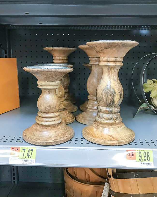 Wood pedestal candle holders from Walmart