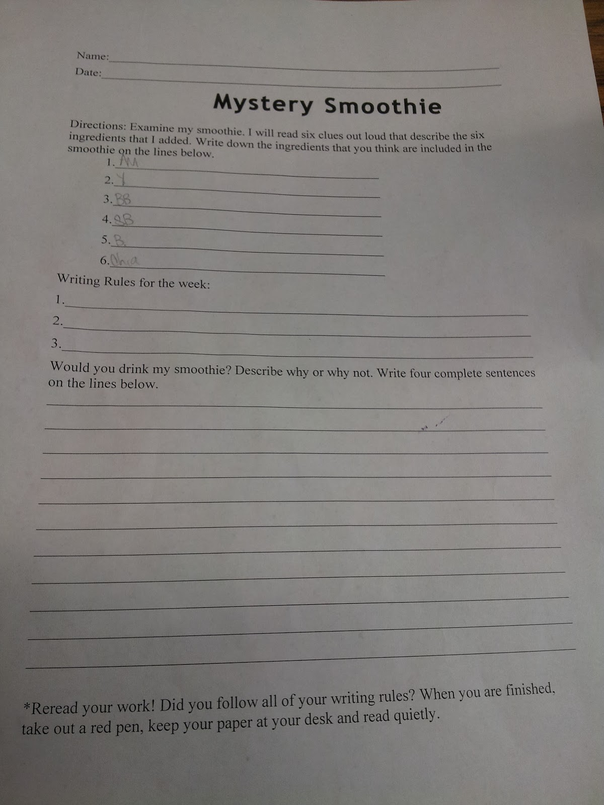 Mystery Smoothie Writing Activity