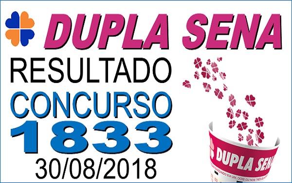 Resultado da Dupla Sena concurso 1833 de 30/08/2018 (Imagem: Informe Notícias)