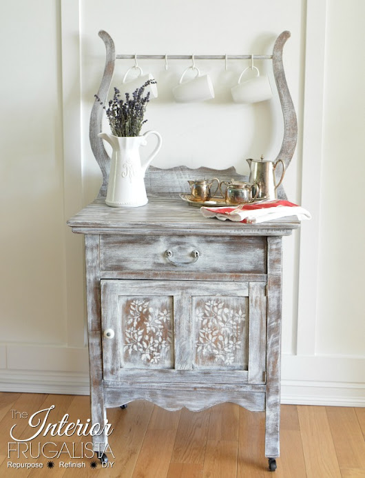 Antique Wash Stand Dry Brushed White