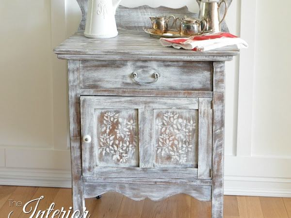 Antique Washstand Dry Brushed White