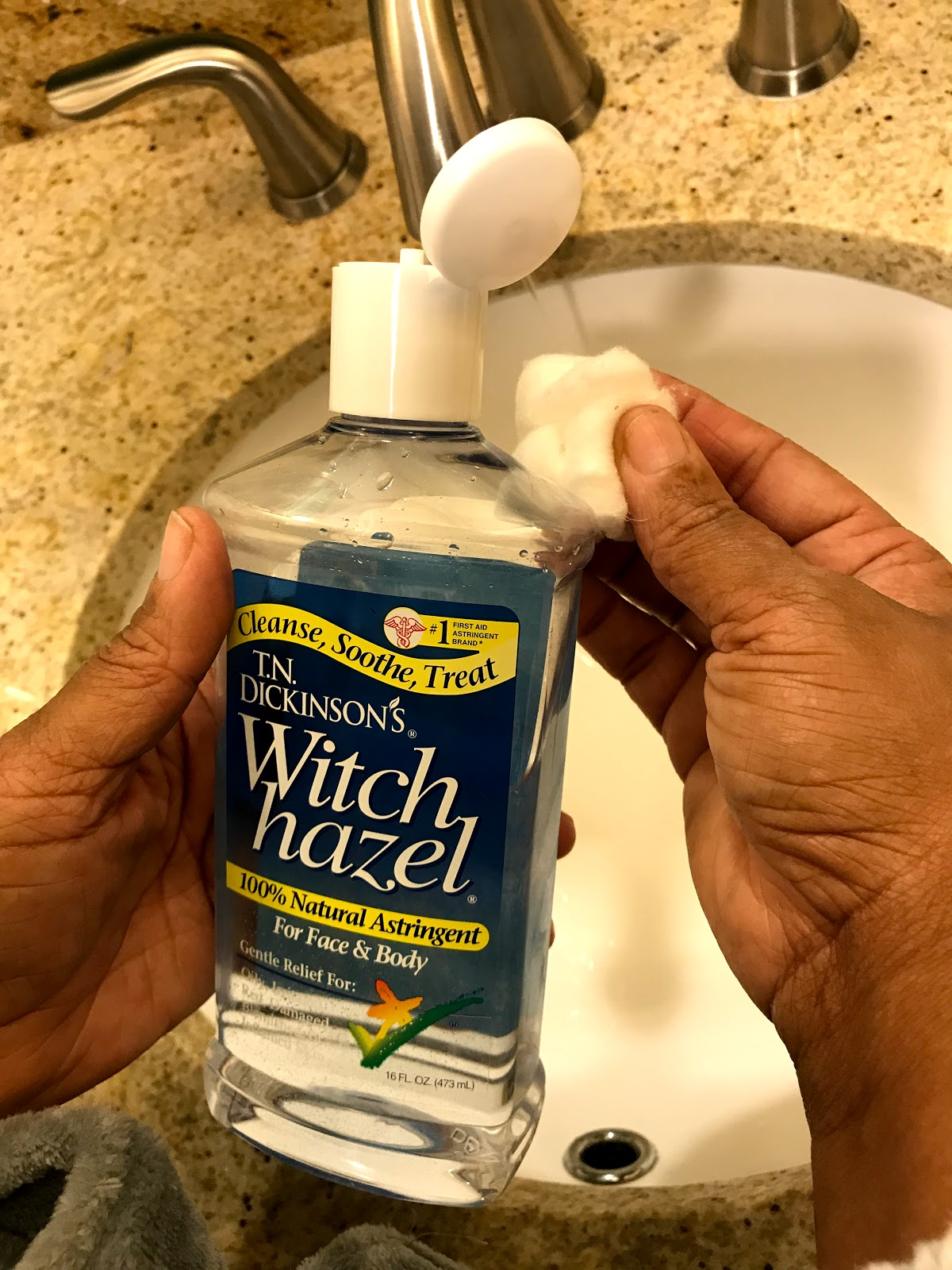 Image: Witch Hazel is the first step in my skincare routine.   First Step Witch Hazel :  Witch Hazel has a lot of benefits when used regularly, it cleans and clears acne, It can be used to soothe sunburnt skin. I like to use it in the morning to remove any dirt in my face. It is also great to use around my dark circles because it has no fragrance and it acts as a brightening toner. I use it first although it can be used after washing my face.