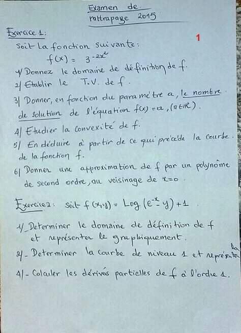Examen Corrigé Analyse Mathématique S1
