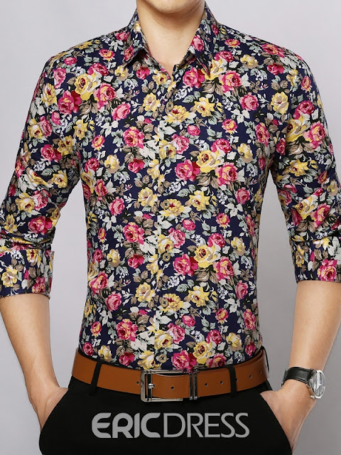 Slim Long Sleeve Floral Print Vogue Men's Shirt