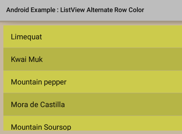 How to set ListView alternate row color in Android