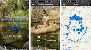 """Aspecto de la interfaz de la App """"Extremadura es agua"""""""