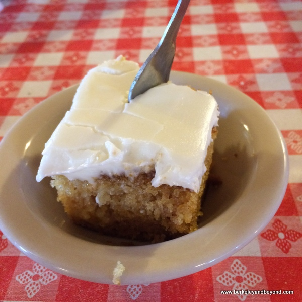 peach cake at Samoa Cookhouse in Eureka, California