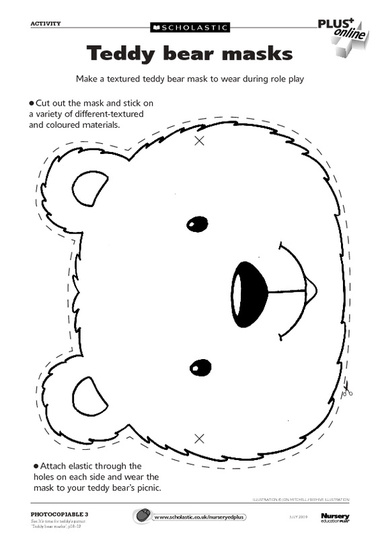 Teddy Bear Mask Templates To Print Out on Paddington Bear Worksheets