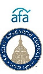 The American Family Association and Family Research Council hate group logos.