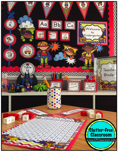 Superhero Classroom Decoration Ideas ~ Superheroes superkids themed classrooms clutter free
