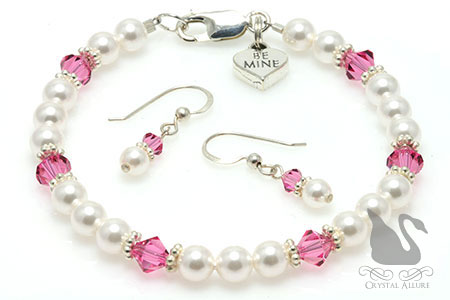 Be Mine Heart Charm Crystal Pearl Bracelet Set (BES4)