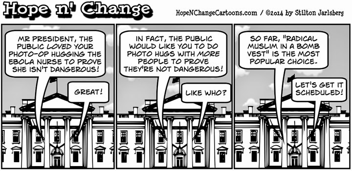obama, obama jokes, cartoon, political, humor, stilton jarlsberg, conservative, hope n' change, hope and change, ebola