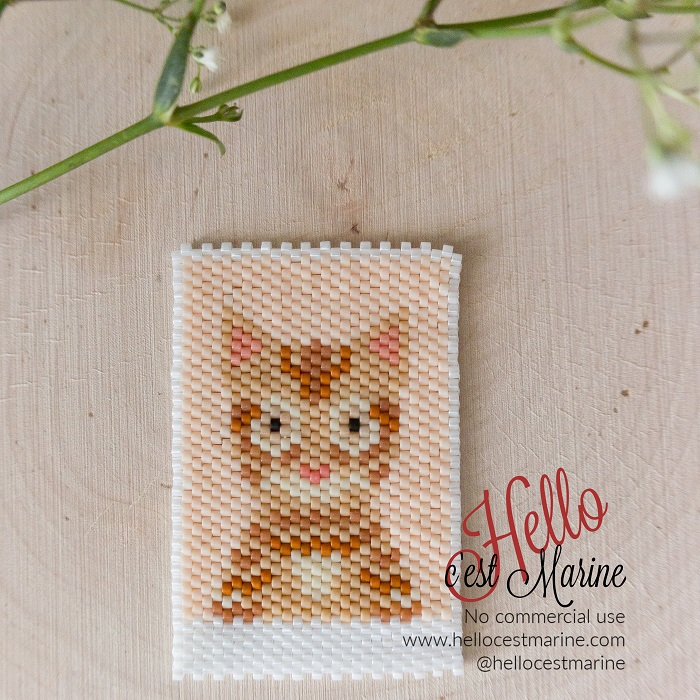 Chat roux, diagramme pour tissage en perles Miyuki delicas 11/0, par Hello c'est Marine