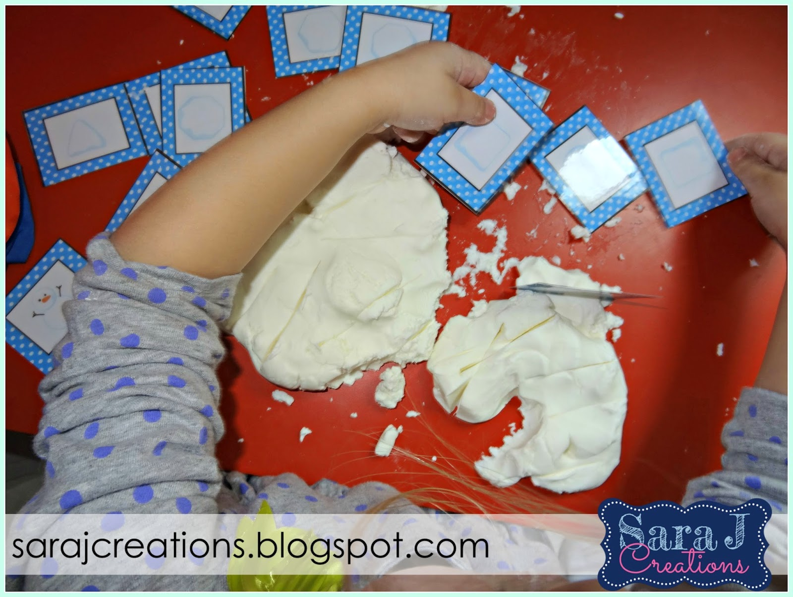 Snow dough is sensory fun for toddlers and preschoolers.  Grab your free matching cards for some winter fun!
