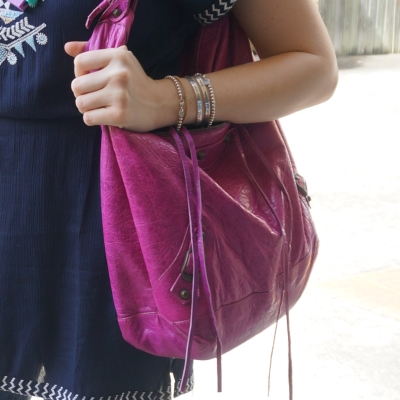 navy tunic, Balenciaga Day bag in 2005 magenta | AwayFromTheBlue