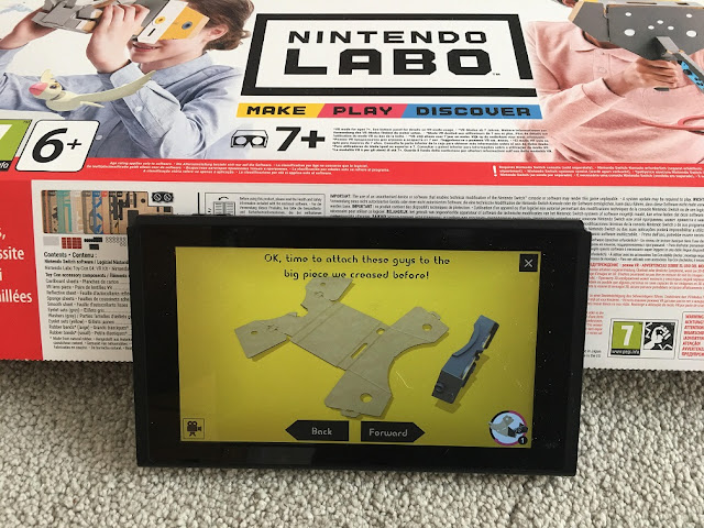 nintendo switch screen showing labo instructions