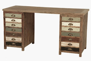 escritorio envejecido, mueble cajones escritorio, mesa estudio