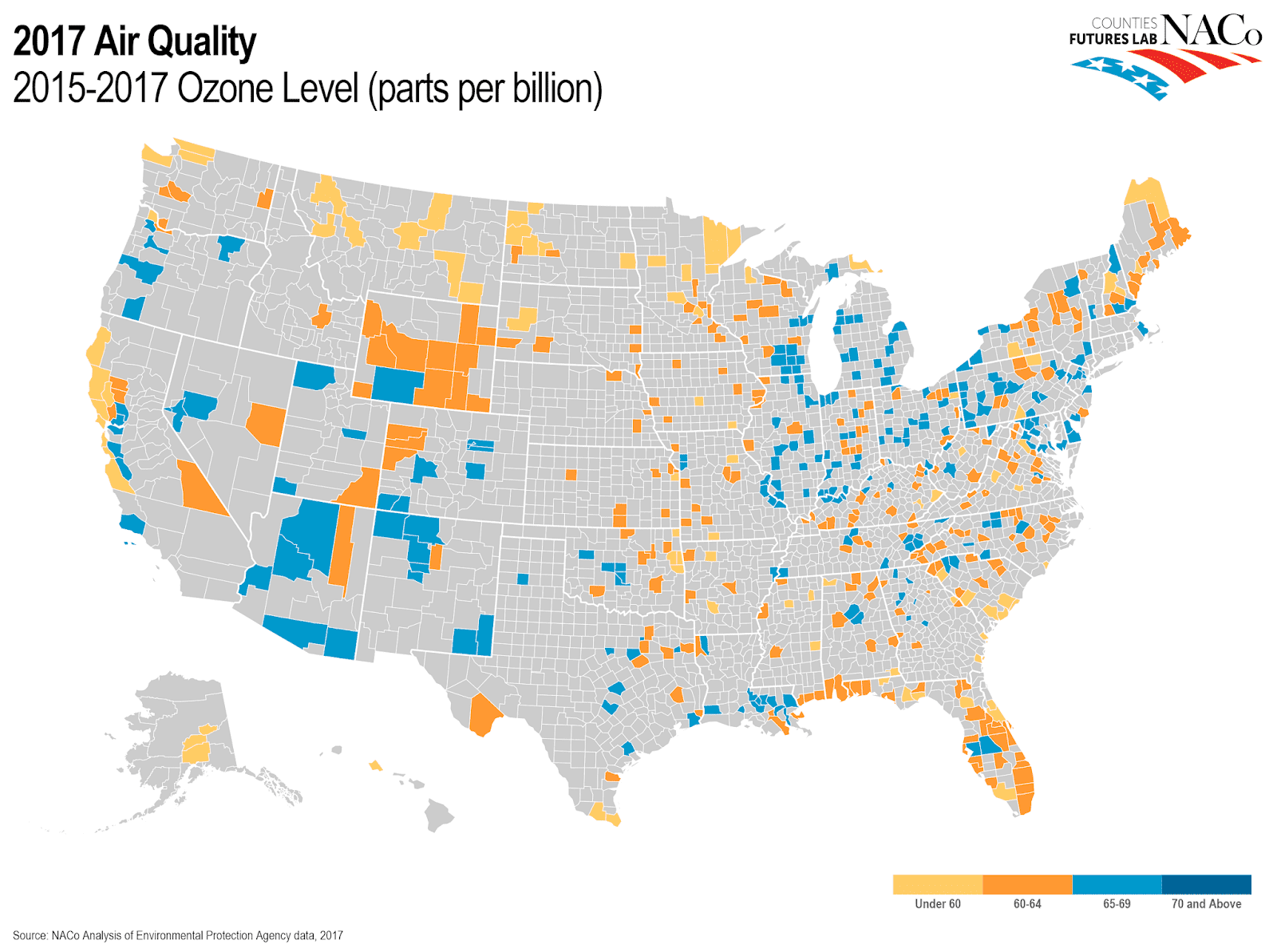 Geofact Of The Day Map Of Air Quality And Ozone Levels In The Us - Air-quality-map-of-us