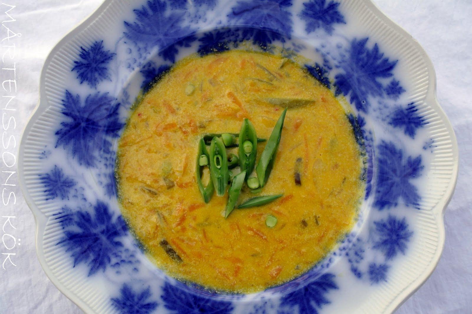 morotssoppa med linser och kokosmjölk
