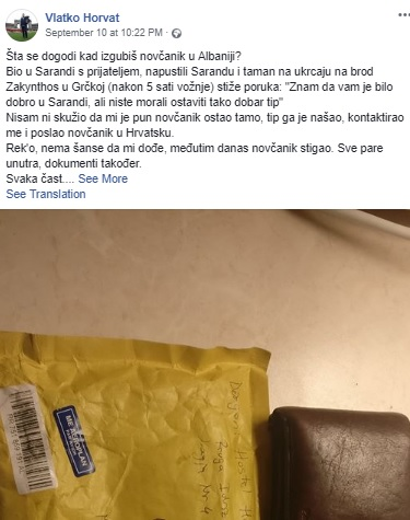Croatian Tourist Vlatko Horvat forgets wallet in Albania, but Alban Koka send to him by mail
