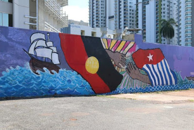 West Papuan 'Morning Star' Flag Artists Pressured to Paint Over Mural in Darwin CBD