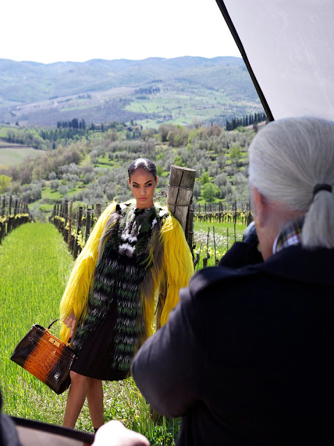 Karl Lagerfeld photographing Joan Smalls for Fendi's Fall/Winter 12-13 Ad Campaign Croc Peekaboo