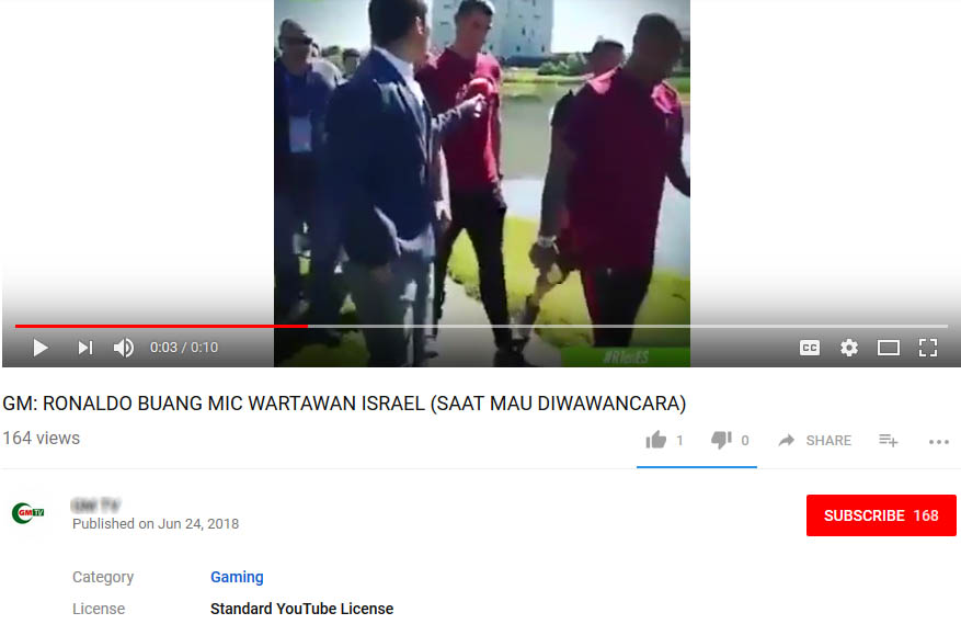 Ronaldo buang mic wartawan Israel (Youtube)