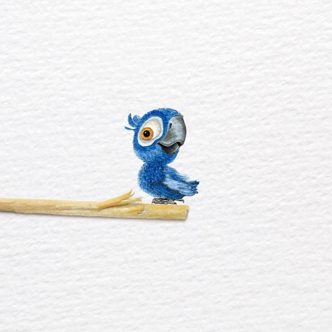 01-Baby-Blu-Macaw-from-Rio-Frank-Holzenburg-Animals-and-Fantasy-Creatures-Tiny-Paintings-www-designstack-co