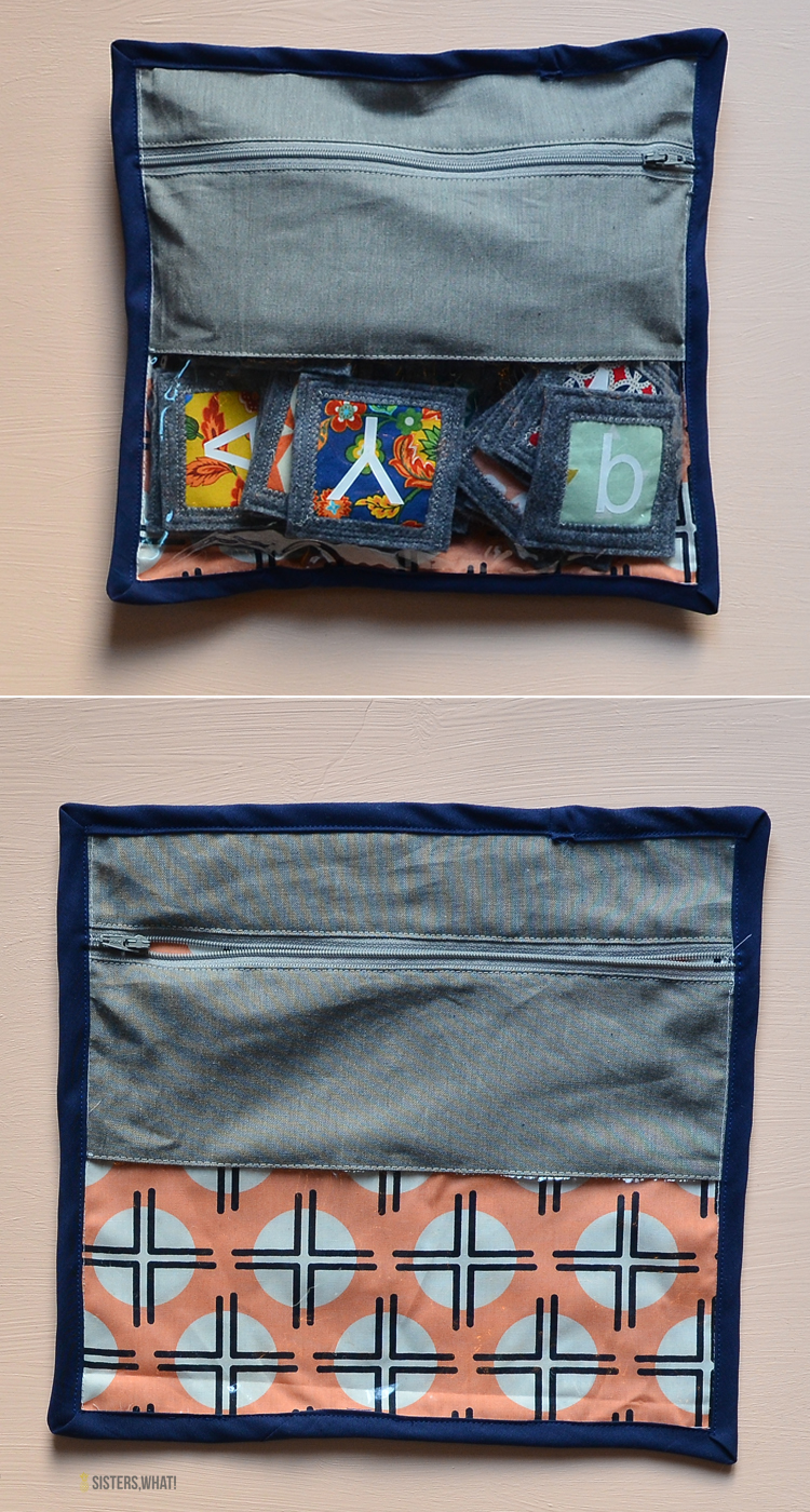 a sew through fabric zipper bag to hold scrap fabric memory game